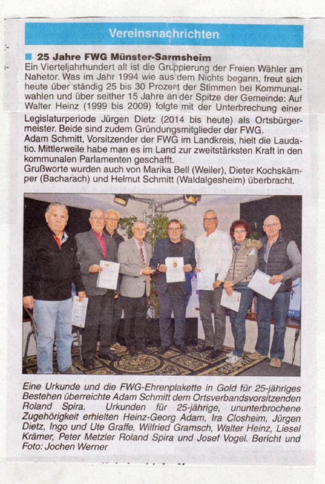 25 Jahre FWG Münster-Sarmsheim